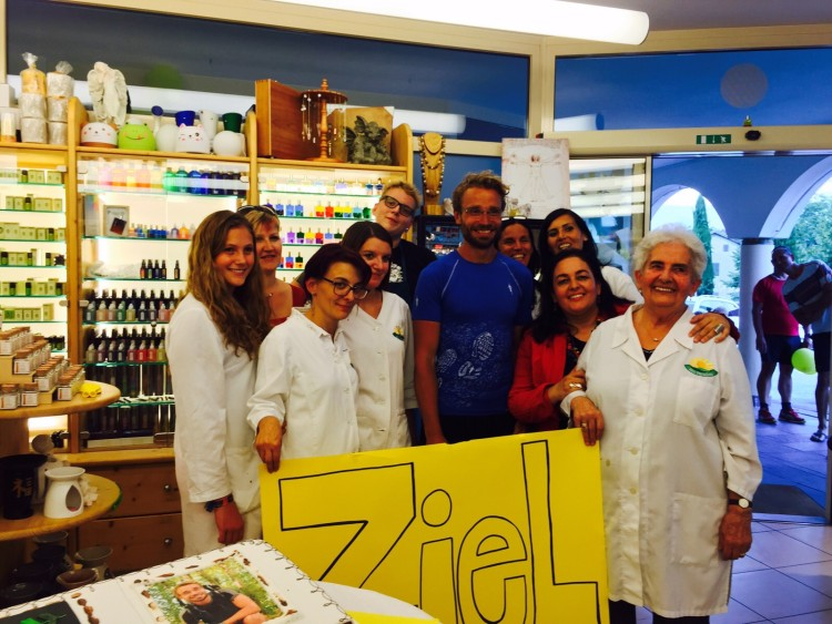 Danke an Doris und ihr Team vom Bio Paradies in Eppan für die Unmengen an Verpflegung und Pflegeprodukten für unterwegs und den Wahnsinns Empfang mit allem drum und dran in Eppan!