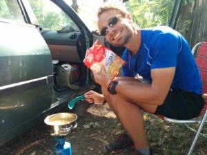 Erster Einsatz des Campingkochers in Jena. Yumm yumm!